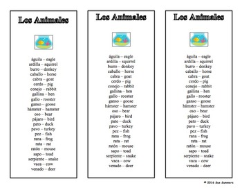 Spanish Family and Animals Bookmarks / Bilingual Bookmarks