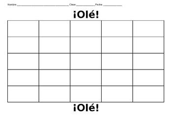 Spanish Family and Descriptions Bingo