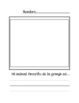Spanish Farm Animal Worksheet- Mi animal favorito de la granja