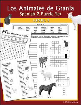 Spanish Farm Animals: Animales de Granja Word Search Puzzle Worksheet