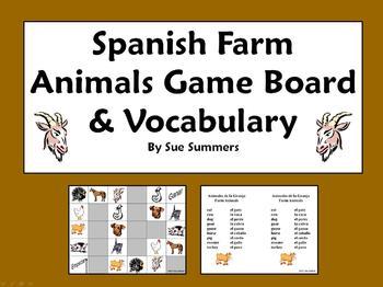 Spanish Farm Animals Board Game and Vocabulary