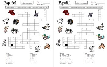 Spanish Farm Animals Bundle - Vocabulary, 3 Puzzles, Image IDs, Game Board/Cards