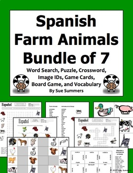 Spanish Farm Animals Bundle - Vocabulary, 3 Puzzles, Image IDs, Game Board/Cards