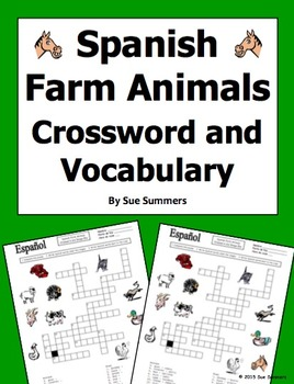 Spanish Farm Animals Crossword Puzzle Worksheet and Vocabulary