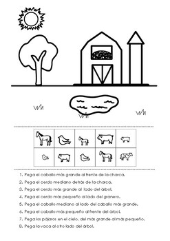 Spanish Farm Animals Prepositions - Preposiciones - Posiciones espaciales