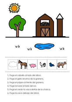 Spanish Farm Animals Prepositions - preposiciones -posiciones espaciales