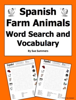 Spanish Farm Animals Word Search Puzzle Worksheet and Vocabulary
