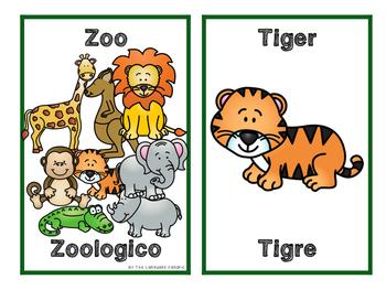 English/Spanish Zoo Flashcards