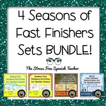 Spanish Fast Finishers BUNDLE!  Four Seasons of Activities!