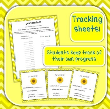 Spanish Fast Finishers activities for Spring! Printables, Bulletin Board