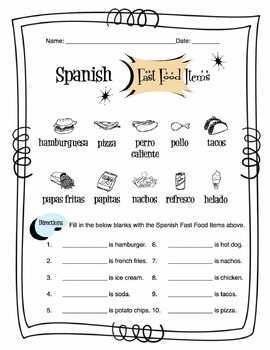 Spanish Fast Food Items Worksheet Packet