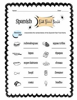 Spanish Fast Food Items Worksheet Packet