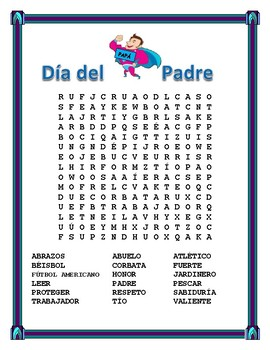 Spanish Father's Day - Word Search and Cross Word Puzzle-Dia del Padre- June 18