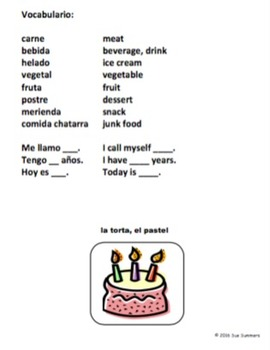 Spanish Favorite Foods Sketch and Label Activity