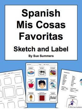 Spanish Favorite Things Sketch and Label Activity