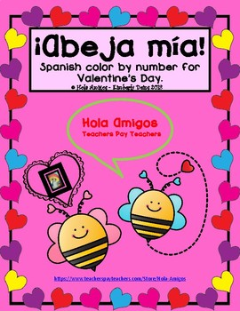 Spanish Valentine's BEE mine color by number fun worksheets