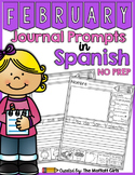 Spanish - February NO PREP Journal Prompts for Beginning Writers