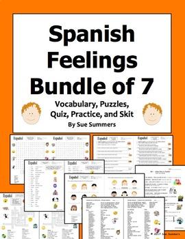 Spanish Feelings Bundle - Vocabulary, Practice, Skit, Quiz, and Puzzles