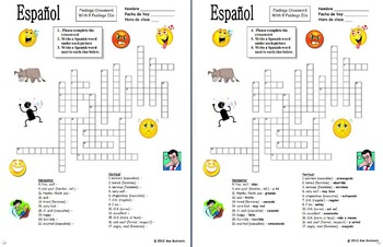 Spanish Feelings Crossword Puzzle, Image IDs, and Vocabulary