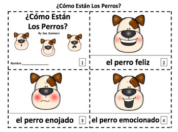 Spanish Feelings Dogs 2 Emergent Reader Booklets - 2 Versions