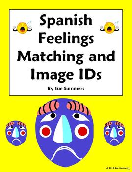 Spanish Feelings Matching and Image IDs Worksheet or Quiz