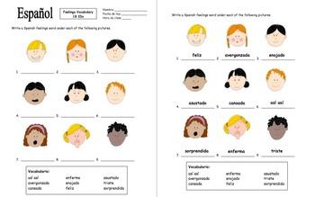 Spanish Feelings Vocabulary 9 Image IDs Worksheet