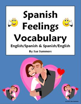Spanish Feelings Vocabulary Reference English/Spanish and Spanish/English