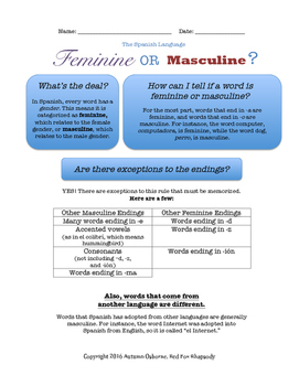 Spanish Feminine and Masculine Handout/Poster, Quizzes and Keys