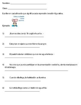 Spanish Figurative Language Worksheet