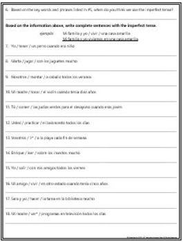 Spanish - Figure Out: Imperfect Tense Verbs