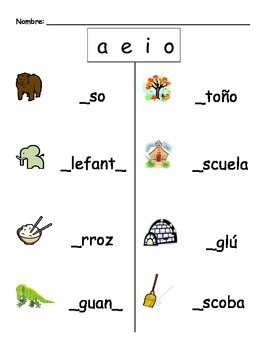 Spanish Fill the Blank (a e i o)