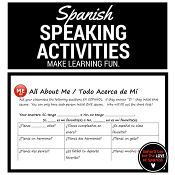 Spanish Find Someone Who - All About Me