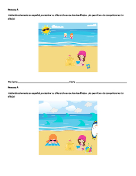 Spanish Find the Differences Speaking Activity