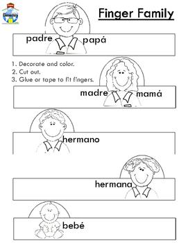 Spanish Finger Family Puppets