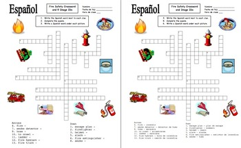 Spanish Fire Safety Crossword Puzzle and Image IDs