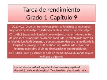 Spanish First Grade Chapter 9 Math Performance Task