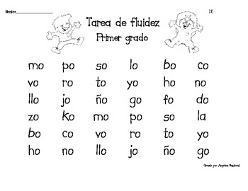 Spanish First Grade Fluency