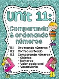 Spanish First Grade Math Unit 11: Comparando números (Comparing Numbers)