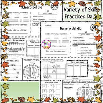 Spanish First Grade Number of the Day November, NO PREP, JUST PRINT