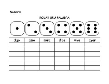 Spanish First Grade Roll-A-Word