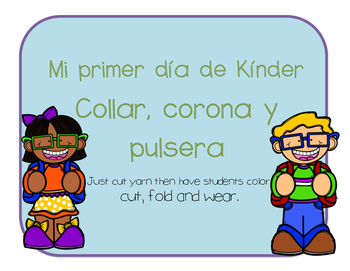 Spanish First day of Kinder crown, necklace and watch