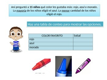 Spanish First grade chapter 10 Math Performance Task