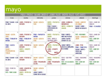 Spanish Five Verb Tense Review Calendar Activity