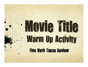 Spanish Five Verb Tense Review Movie Titles