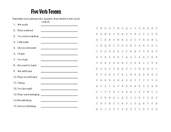 Spanish Five Verb Tense Review Puzzle Pack