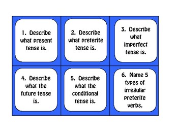 Spanish Five Verb Tense Review Task Cards
