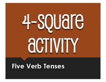 Spanish Five Verb Tenses Review Four Square Activity