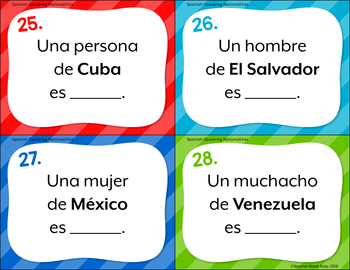 Spanish Flags and Nationalities Task Cards