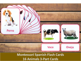 Spanish Flash Cards // Animals // 16 Cards (Montessori)