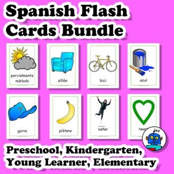 Spanish Flash Cards Bundle. Transport, Colors, Clothes, Food, Actions, Shapes